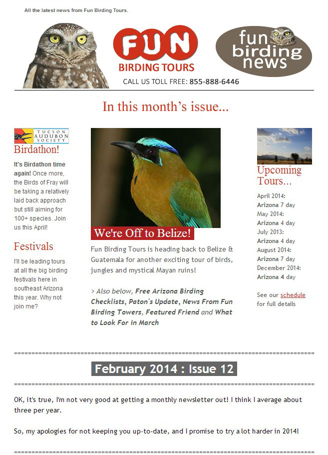 Fun Birding News, Feb 2014